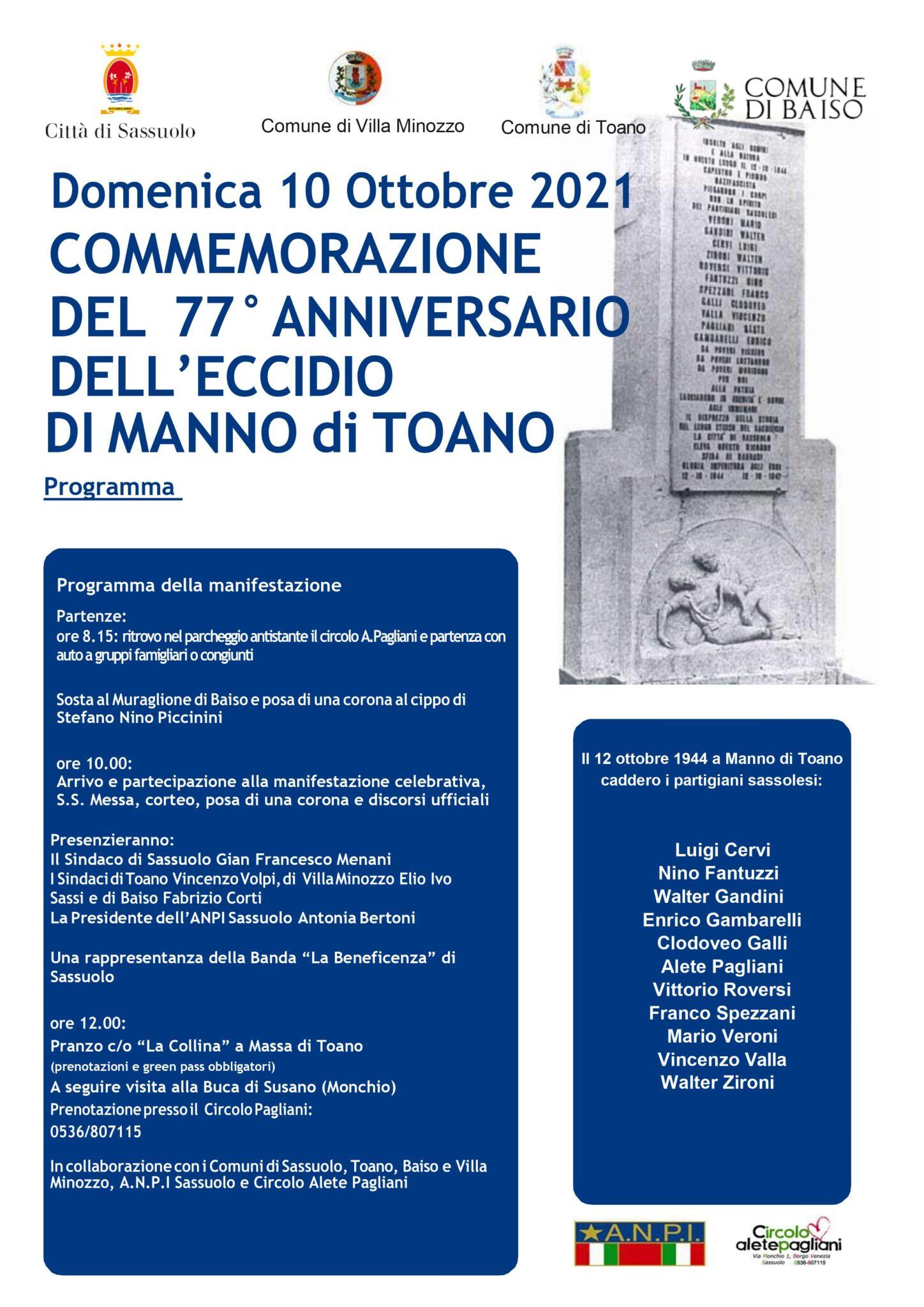 Domenica 10 Ottobre 2021 Commemorazione del 77° Anniversario dell'Eccidio di Manno di Toano