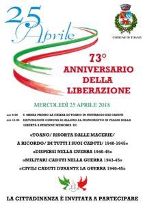 25 Aprile 2018 – 73° ANNIVERSARIO DELLA LIBERAZIONE