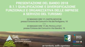 PRESENTAZIONE BANDO GAL 2018