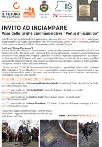 """INVITO AD INCIAMPARE – Posa delle targhe commemorative """"Pietre d'Inciampo"""" – Venerdì 12/01/2018"""
